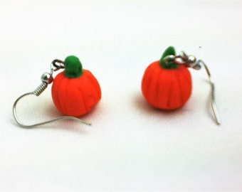 Polymer clay pumpkin earrings handmade jewelry
