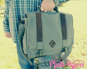 Ships in 7 Days  Vintage Style Olive Green Canvas laptop bag with Leather Trim Groomsmen Gift Personalized