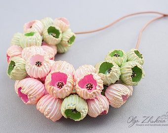 Necklace with large beads, bells made of polymer clay. Volume necklace with beads from polymer clay