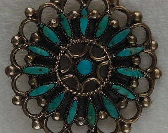 Vintage Zuni Needlepoint, round pin/brooch natural  turquoise, sterling silver