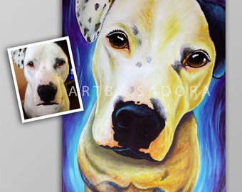 Pet Portrait Painting on Canvas - Colorful Custom Dog Portrait Painting Picture from Photo commission custom art of your dog cat horse goat