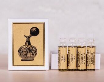 Tea Fragrance Sampler: 'Vanilla Rooibos', 'Green Tea', 'Lapsang Souchong' and 'Earl Grey'