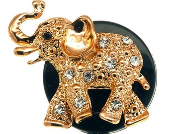 Gold Elephant ID Badge Reel - Nurse retractable Badge Holder - Rhinestone Elephant - SassyBadge - Nurse Badge Clip