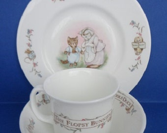 1986 The World of Beatrix Potter Child's Royal Albert China Dish Set