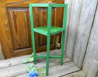 Vintage 1940's Green Painted Wood 2 Tiered Plant Stand Side Table