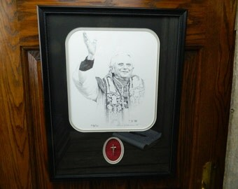 Vintage Thomas Blackshear II Signed and Numbered Limited Edition Etching of Pope Benedict XVI