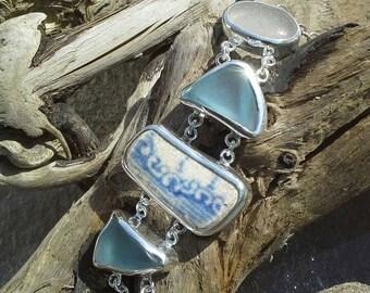 Croyde sea glass and pottery bracelet.