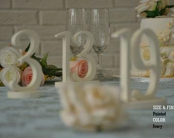 Ivory Wedding Table Numbers, SET 1/20, Elegant Wedding Table Numbers, Gold Table Numbers, Silver Table Numbers