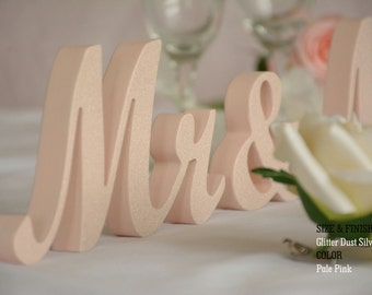 Pale Pink Wedding, Wood Mr And Mrs Pale Pink Wedding, Letters For Wedding