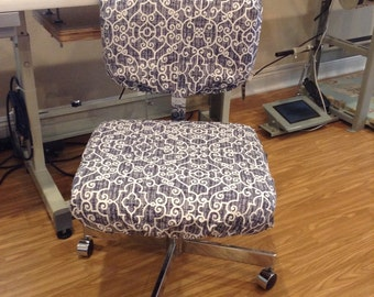 Office Chair seat and back covers with Monogram, Dorm chair slipcover, elasticized chair covers, customizable, washable, removable, Armless