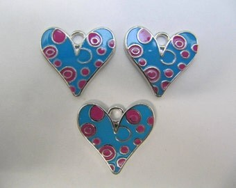 Enamel Heart Charms, Set of 3, Colorful Pendant Charms, Blue And Pink, Lead & Cadmium Free, Platinum Metal Color, 12x18 x 2 MM