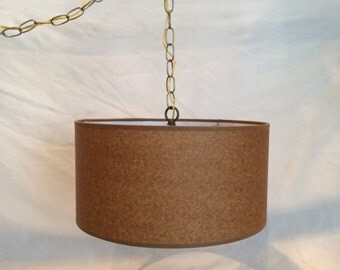 Mid Century Modern Swag  Hanging Lamp Plug in 15' cord  Kraft color