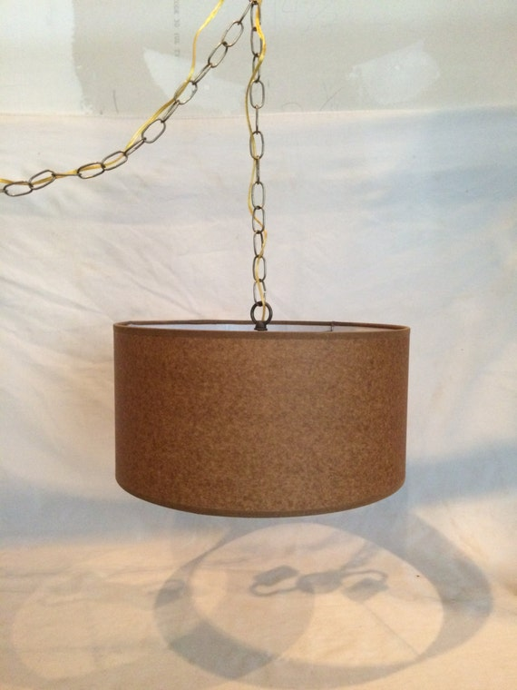 mid century modern swag hanging lamp plug in 15 39 cord kraft color. Black Bedroom Furniture Sets. Home Design Ideas