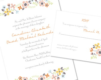 Floral Wedding Invitation | Garden Wedding Invitation | DIY Option Available | Invitation | RSVP | Info Card #47