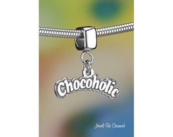 Sterling Silver Chocoholic Charm or Charm Bracelet Chocolate Lover 925