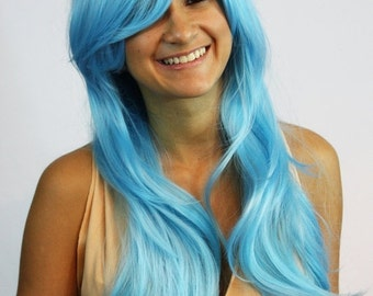 Long wavy light blue wig synthetic hair -high quality wig