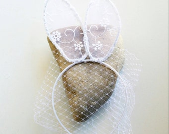 Lace Bunny Ears and veil white lace bunny ears and fascinator veil on white headband