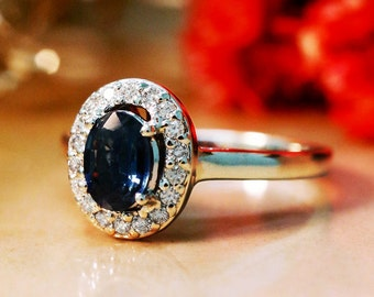 Blue Sapphire Ring | Diamond Halo | Solid 14K Gold | Gemstone Engagement Ring | September Birthstone | Fine Jewelry | Free Shipping