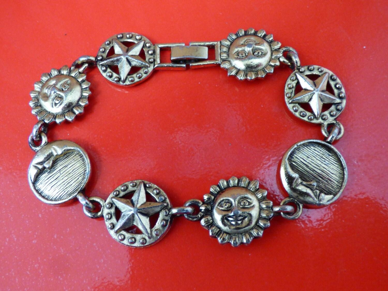 vintage sun moon and bracelet linked metal by