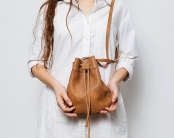 Brown leather bucket bag,Small soft Brown shoulder bag,Brown Leather bag for women
