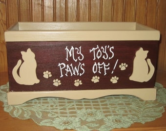 FREE SHIPPING!! My Toy's Paws Off! Cat Toy Box. Personalize! Only ships within U.S. Excluding Alaska and Hawaii