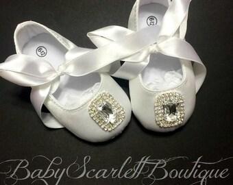 White Satin Baby Girl Shoes,Christening,Flower Girl Shoes