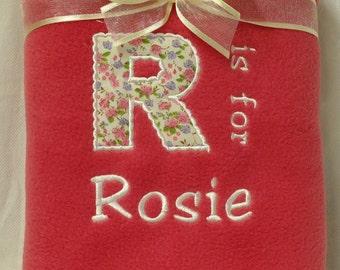 Personalised Embroidered Baby Blanket Fleece Baby Girl Gift