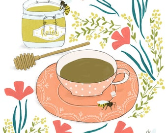 Tea with Honey - floral, bees, and teacup art print