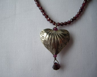 Sterling Silver Heart with Garnet Gemstone Necklace