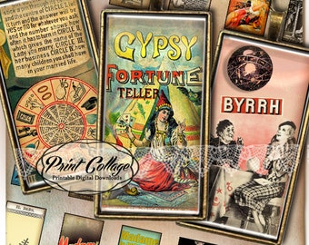 Fortune Teller, gipsy  Domino size Pendants Printable images  Digital Collage Sheet 1 x 2 inch Jewelry Backgrounds Clip Art c78