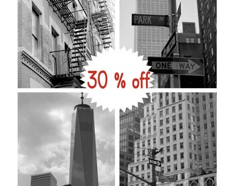 New York print set, black & white New York photography set, 11x14, 8x10 nyc black and white photos, New York decor, architecture pictures