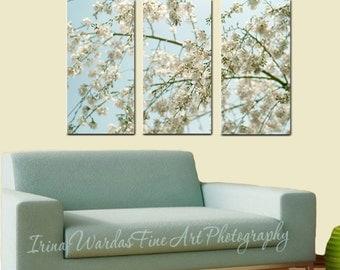 3 panel wall art, nature 3 piece wall art, Cherry Blossom canvas wall art, aqua mint beige bedroom extra large art, tryptich art oversized
