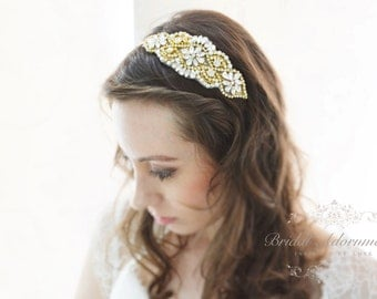 Luxury Gold Crystal Bridal Headband