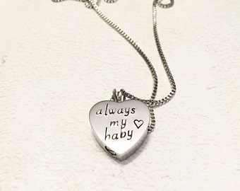 Loss of child - Urn necklace - Hand stamped necklace - Loss necklace - Cremation jewelry - Memorial necklace - Stainless steel heart