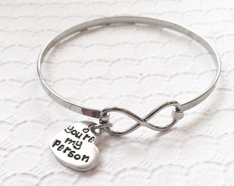 You're my person - Best friends bracelet - You're my person jewelry - Couples Jewelry - Personalized hand stamped bracelet - Greys Anatomy