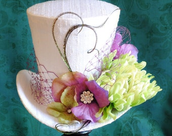 Bridal Mini Top Hat in Lime and Purple,Tea-party Mini Top Hat,Spring Flower Mini Top Hat,Alice in Wonderland - Ready to Ship
