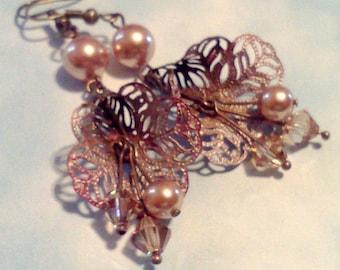 filigree, dangles, handmade, hand crafted, fashion earrings, rose gold filigree,  Swarovski Pearls, Pearl Earrings, Vintage Style, Victorian