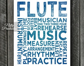 Flute Art - INSTANT DOWNLOAD Flute Poster Print - Typography Music Poster - Flute Gifts - Music Wall Art - Flute Print - Music Gifts
