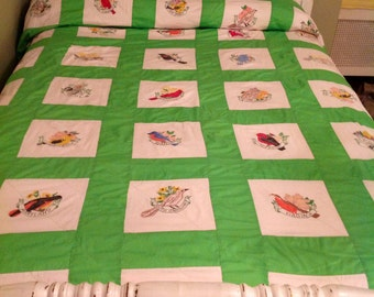 State Bird Bedspread.....Double or Queen size.......Excellent Condition.....Unique....Handpainted birds