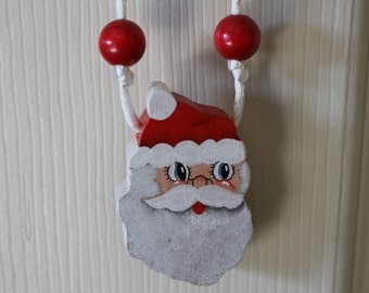Hand painted Wood Santa Face Necklace