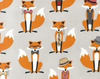 BACKORDERED - Fox and The Houndstooth Foxes Grey - Fabric by the Yard