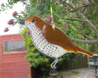 Song thrush fused glass bird- made to order - garden birds - british birds - fused glass - garden ornament - british wildlife