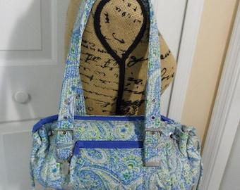 Vintage Canvas Satchel Bag Blue Paisley Print Fabric Shoulder Bag Hipster Bag Small Shoulder Bag Blue Handbag Floral Handbag DSQ Pocketbooks