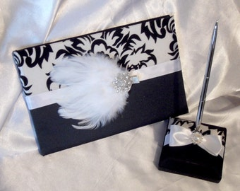 Feather Damask Brooch Wedding Guest Book and Pen Set