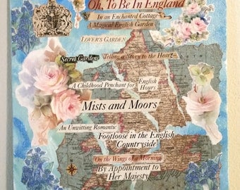 """English Romance Original Collage Found Poetry Art 8"""" x 10"""" Cottage Chic Wall Decor not a copy"""