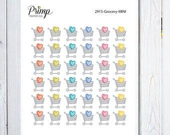 Grocery - Mini Sticker Sheet, planner stickers