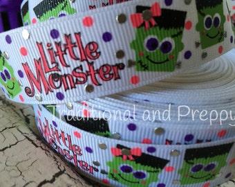 """7/8"""" Halloween foil little monster grosgrain ribbon"""