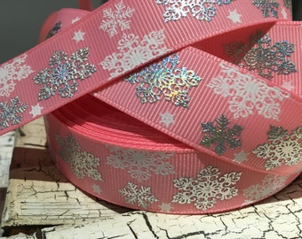 "3 yards 7/8"" winter Christmas silver laser foil snowflake on pink grosgrain"