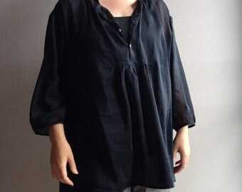 Loose-fitting woman's silky sheer blouse / Cotton-silk tunic with 3/4 length sleeves / Japanese style shirt / Made to order / Sizes XS-XXL
