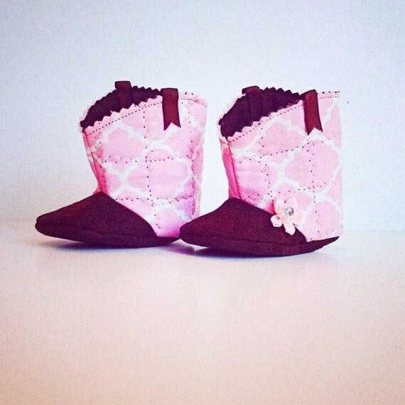 pink and brown baby boots western baby boots new